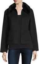 Neiman Marcus Cropped Cashmere Jacket w/ Rabbit Fur Collar