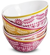 Mudhut Marika Melamine Bowls Set of 4 Pink/Red