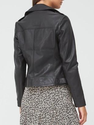 Very Ultimate Double Zip Leather Biker Jacket - Black