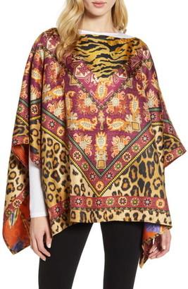 Etro Leopard & Floral Reversible Silk Scarf