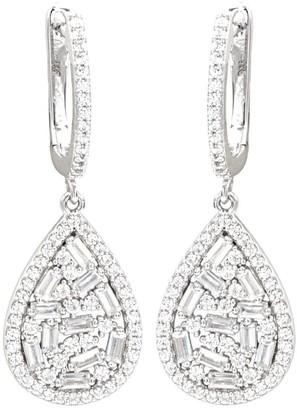 Overstock Teardrop Shaped Multi-Baguette Diamond Drop Earrings in Sterling Silver - 1.50 carats