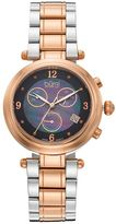Burgi Women's Diamond Two Tone Stainless Steel Chronograph Swiss Watch