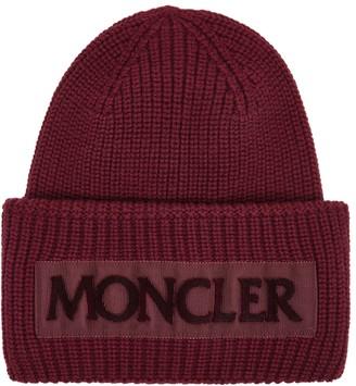 Moncler Bordeaux Logo-appliqued Wool Beanie