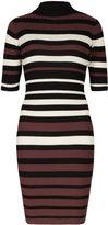 Apricot Burgundy Black & Cream Stripe Pattern Bodycon Jumper Dress