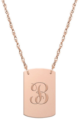 Jane Basch 14K Rose Gold Script Initial Dog Tag Necklace (A-Z)