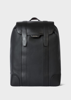 Paul Smith Men's Black Leather Flap Backpack with 'Signature Stripe' Trims