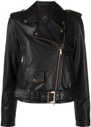 Armani Exchange Lambskin Leather Jacket