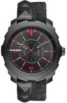 Diesel Three-Hand Analog Machinus NSBB Denim and Leather Stud Strap Watch