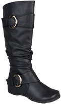 Journee Collection Black Paris Wide-Calf Boot