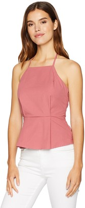 EVIDNT Women's Halter Pleated Peplum Top with Criss Cross Back