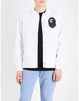 A Bathing Ape Mens White Branded Classic X Majestic Shell Coach Jacket