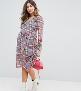 Asos Floral and Check Midi Dress with Tie Side Channelling Detail