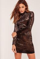 Missguided Bronze High Neck Velvet Long Sleeve Mini Dress