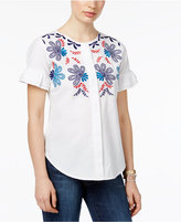NY Collection Petite Cotton Embroidered Shirt