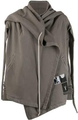 Rick Owens hooded wrap zipped sweatshirt