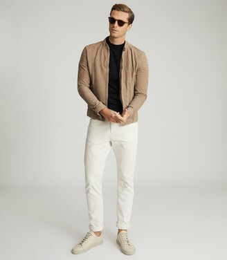 Reiss Brooks - Suede Cafe Racer Jacket in Stone