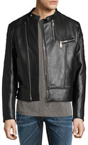 DSQUARED2 Leather Café; Biker Jacket, Black