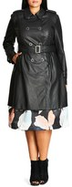 City Chic 'Vinyl Weave' Braid Detail Faux Leather Trench Coat (Plus Size)