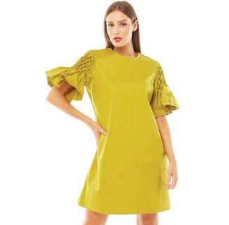 Ted Baker Womens Faatima Smocked Sleeve A Line Dress Light Green