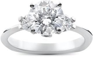 Pompeii3 14k White Gold 1 3/8ct TDW Diamond Three Stone Round Brilliant Cut Engagement Ring