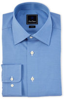 David Donahue Blue Trim Fit Textured Dress Shirt