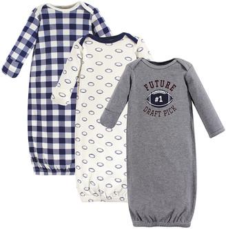 Hudson Baby Boys' Infant Gowns Football - Gray 'Future Draft Pick' Three-Piece Gown Set - Newborn