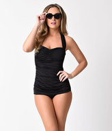 Esther Williams Vintage Inspired 1950s Black Sheath Swimsuit