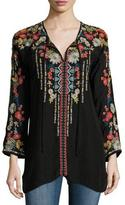 Johnny Was Emily Embroidered Tie-Neck Tunic, Plus Size
