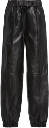 Ganni Leather Jogger Pants