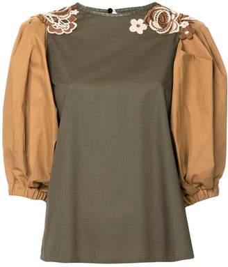 Antonio Marras floral appliqué colour block blouse