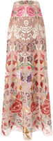 Temperley London Blush Embroidered Long Silk Tulle Skirt