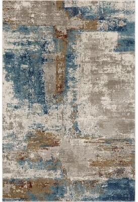 17 Stories Sedef Abstract Beige/Blue Area Rug Rug Size: Rectangle 5' x 7'