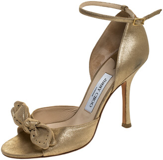 Jimmy Choo Gold Leather Bow Detail Open Toe Ankle Strap Sandals Size 38.5