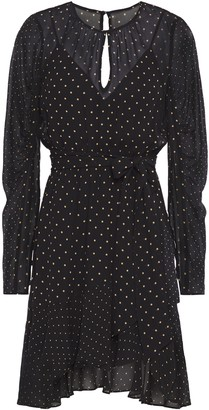 Bailey 44 Candace Asymmetric Polka-dot Chiffon Mini Dress