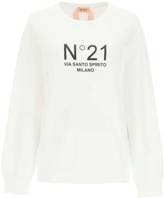 N°21 N.21 CREWNECK SWEATSHIRT WITH LOGO PRINT 38 White, Black Cotton