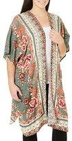 Angie Women's Plus Size Paisley Printed Kimono Duster