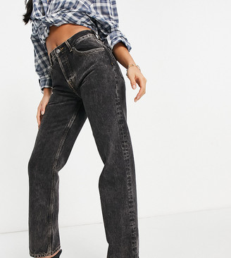 ASOS DESIGN Petite mid rise '90's' straight leg jeans in washed black