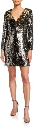 Aidan Mattox Sequin V-Neck Long-Sleeve Mini Dress