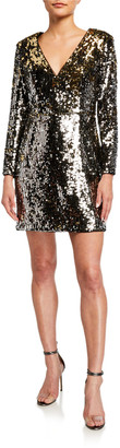 Aidan Mattox Sequin V-Neck Long-Sleeve Mini Dress