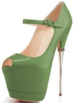 YDN Women Peep Toe Shoes Sky High Heels with Platform Pumps Ankle Strappy Stiletto 11