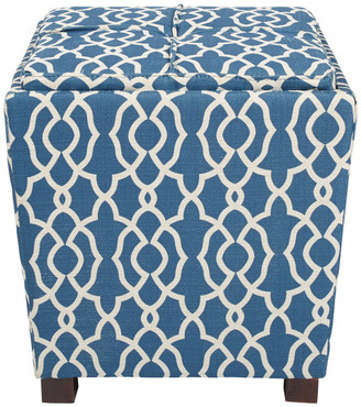 Osp Home Furnishings 2 Piece Ottoman Set With Tray Top, Abby Geo Blue