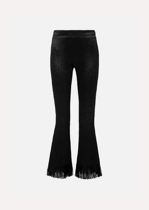 Chloé Fringed Crushed-velvet Flared Pants - Black