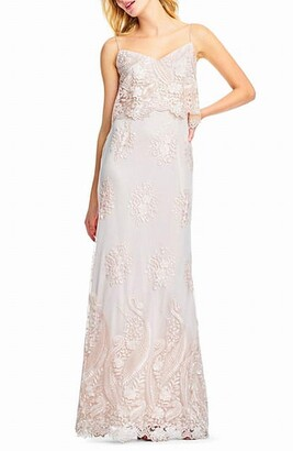 Adrianna Papell Women's Embroidered Popover Dress
