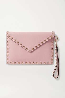 Valentino Garavani Rockstud Textured-leather Pouch - Pink