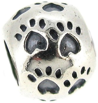 Queenberry .925 Sterling Silver Stamped 'Dog Paw Print' Round European Charm