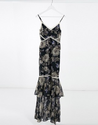Hope & Ivy Floral Print Fishtail Maxi Dress in navy