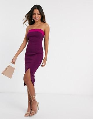 Vesper Shirea contrast midi dress in burgundy and pink