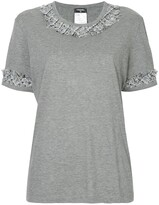 Chanel Pre Owned tweed-trim short-sleeve T-shirt