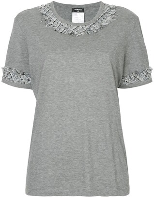 Chanel Pre-Owned tweed-trim short-sleeve T-shirt