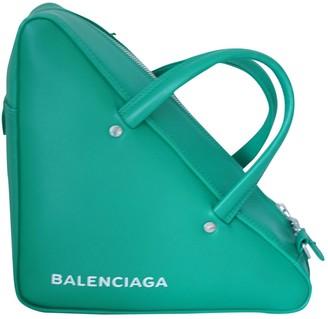Balenciaga Triangle Green Leather Handbags